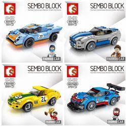 Sembo 607017 607018 607019 607020 (NOT Lego Speed Champions Porsche 911 Rsr And 911 Turbo 3.0 ) Xếp hình Bộ 4 Xe Đua gồm 4 hộp nhỏ 732 khối