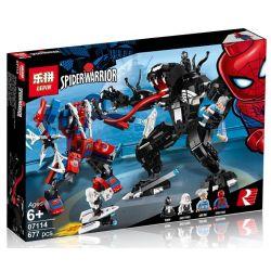 Lepin 07114 Sheng Yuan 1168 SY1168 Bela 11188 Decool 7137 (NOT Lego Marvel Super Heroes 76115 Spider Mech Vs. Venom ) Xếp hình Người Máy Của Người Nhện Đánh Nhau Với Người Máy Của Venom 604 khối