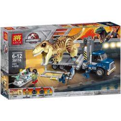 Lele 39116 Bela 10927 (NOT Lego Jurassic World 75933 T. Rex Transport ) Xếp hình Xe Vận Chuyển Khủng Long Bạo Chúa 609 khối