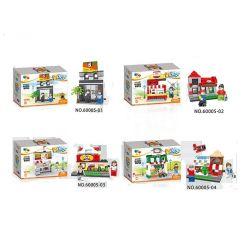Qizhile 60005 Modular Buildings Convenience Store, Fast Food Pizza, Pet And Dessert Shop Xếp hình Hệ Thống Cửa Hàng Tiện Lợi, Thú Cưng, Bánh Ngọt, Pizza gồm 4 hộp nhỏ lắp được 4 mẫu 741 khối