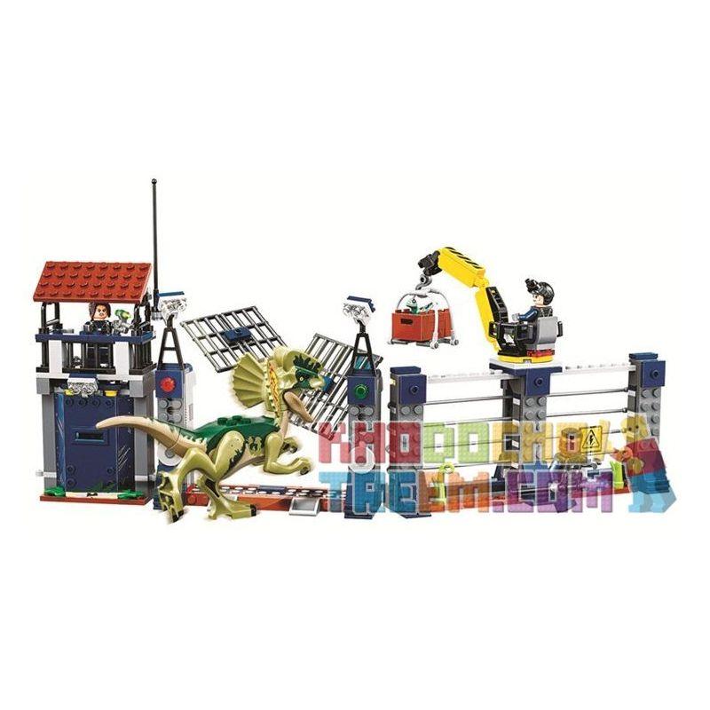 Sheng Yuan 1083 SY1083 Bela 10923 Lele 39113 (NOT Lego Jurassic World 75931 Dilophosaurus Outpost Attack ) Xếp hình Khủng Long Spinosaurus Xổng Chuồng 289 khối