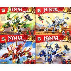 Sheng Yuan 1072 Ninjago Movie Ninja:thunder Swordsman Xếp hình 4 Con Rồng 715 khối