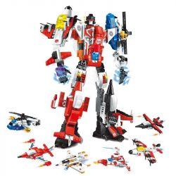 Enlighten 1405 (NOT Lego Transformers Destroyer Ares ) Xếp hình Robot Chiến Binh War God gồm 6 hộp nhỏ lắp được 7 mẫu 506 khối