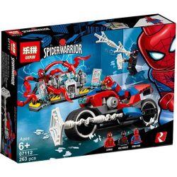 Lepin 07112 Bela 11186 Decool 7135 Lele 34068 (NOT Lego Marvel Super Heroes 76113 Spider-Man Bike Rescue ) Xếp hình Cuộc Chiến Của Người Nhiện 235 khối