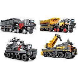 Sembo 107001 107002 107003 107004 (NOT Lego The Wandering Earth Cargotruck - Transport Iron Oretruck Military Engineering Truck ) Xếp hình Các Mô Hình Xe Tải Bé gồm 4 hộp nhỏ 996 khối