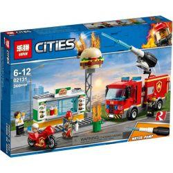 Lepin 02131 (NOT Lego City 60214 Burger Bar Fire Rescue ) Xếp hình Chữa Cháy Quán Bánh Mỳ Kẹp 327 khối