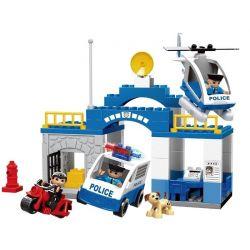 Lego Duplo 5681 Hystoys HG-1266 Aoleduotoys GM-5011C Police Station Xếp hình trụ sở cảnh sát với trực thăng cùng ô tô cảnh sát 51 khối