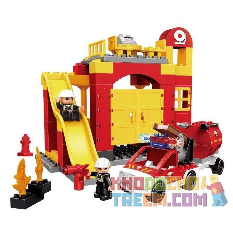 Lego Duplo 6168 Hystoys HG-1267 Aoleduotoys GM-5010C Fire Station Xếp hình trụ sở cứu hỏa với xe bán tải cứu hỏa 69 khối