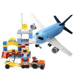 Hystoys HG-1273 Duplo 5595 Airport Xếp hình sân bay với máy bay chở khách 69 khối