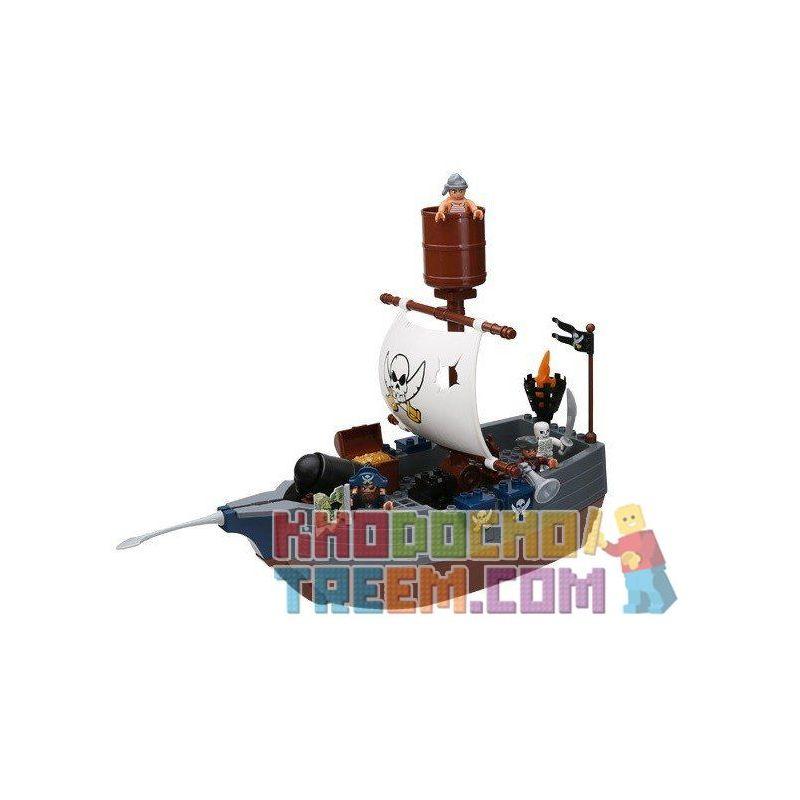 Lego Duplo 7881 Hystoys HG-1277 Pirate Ship Xếp hình thuyền cướp biển 40 khối