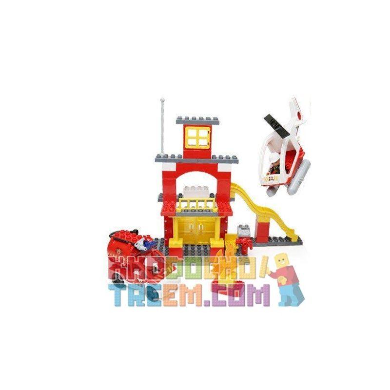 Lego Duplo 6138 Hystoys HG-1300 My First Fire Station Xếp hình trụ sở cứu hỏa với trực thăng và ô tô cứu hỏa 56 khối