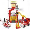 Hystoys Hongyuansheng Aoleduotoys HG-1300 (NOT Lego Duplo 6138 My First Fire Station ) Xếp hình Trụ Sở Cứu Hỏa Với Trực Thăng Và Ô Tô Cứu Hỏa 60 khối