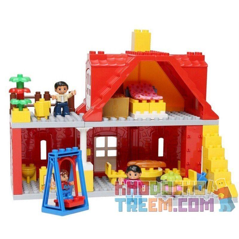 Lego Duplo 5639 Hystoys HG-1422 Family House Xếp hình Ngôi nhà màu đỏ 64 khối