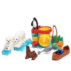 Hystoys Hongyuansheng Aoleduotoys HG-1457 (NOT Lego Duplo Polar Zoo ) Xếp hình Vườn Thú Bắc Cực Nhỏ 27 khối