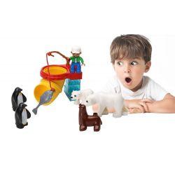 Lego Duplo 5633 Hystoys HG-1492 Polar Zoo Xếp hình vườn bách thú bắc cực tí hon 14 khối