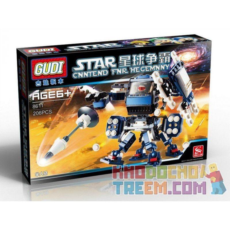 Xinlexin Gudi 8611 (NOT Lego Star wars Centauri Robot ) Xếp hình Người Máy Kỵ Sỹ Chiến Đấu 1 Người Điều Khiển 206 khối