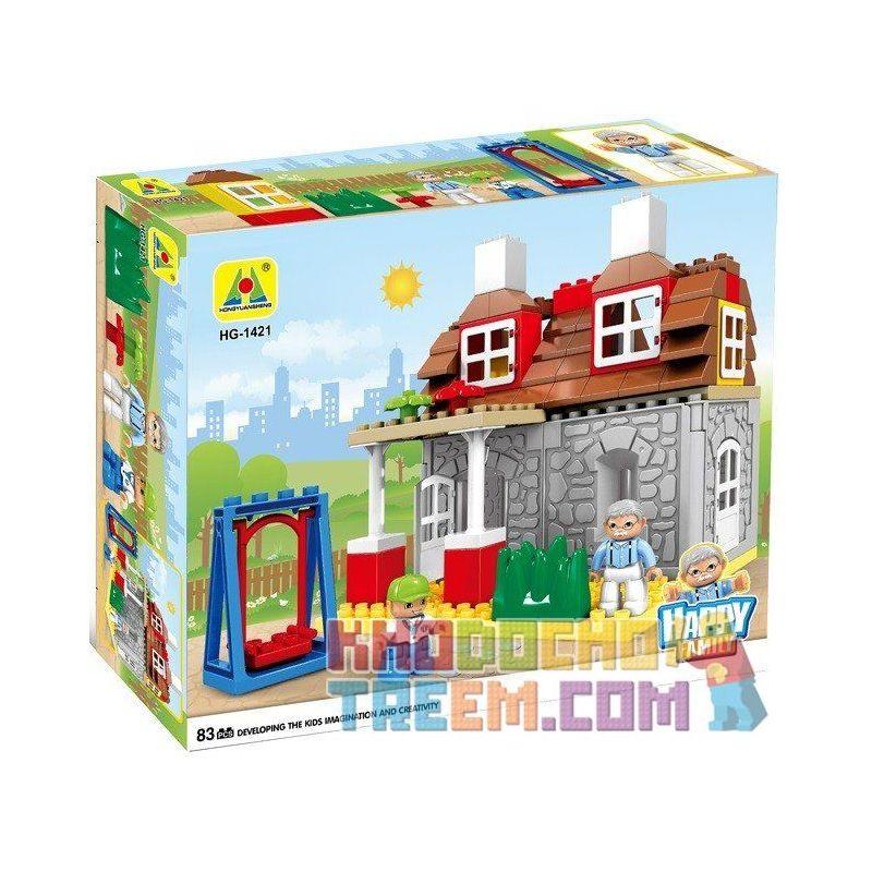 Hystoys Hongyuansheng Aoleduotoys HG-1421 (NOT Lego Duplo Family House ) Xếp hình Nhà Ông Ngoại 83 khối