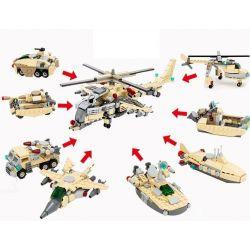 Lego Creator 8 in 1 Gudi 8007-8 military helicopter 8 in 1 Xếp hình trực thăng quân sự từ 8 thiết bị biến hình 679 khối