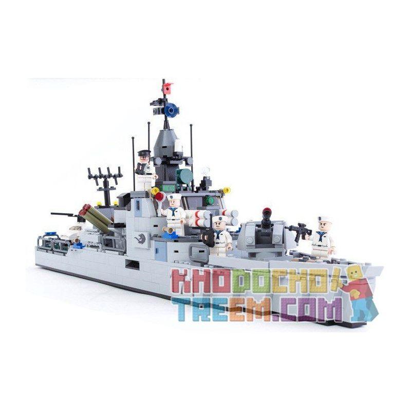 Gudi 8026 Military Army MOC Nighty Missile Frigate Xếp hình Tàu hộ vệ tên lửa tàng hình 693 khối