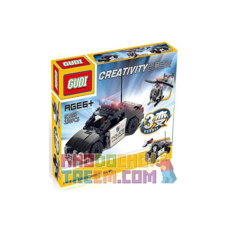 Xinlexin Gudi 8109B (NOT Lego Creator 3 in 1 Police Patrol Helicopter Interceptor Creative Variety Law Enforcement Car ) Xếp hình Xe Cảnh Sát Biến Hình Xe Jeep, Trực Thăng 130 khối