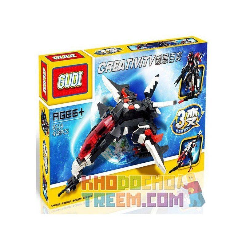 Gudi 8119 Creator 3 In 1 Transformers 3 In 1 Xếp Hình Rô Bốt Biến Hình Thành Phi Thuyền Thú 438 Khối
