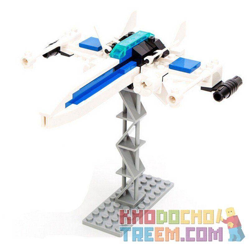 Lego Star Wars Earth Border Gudi 8606 Blue Serene Fighter Xếp hình phi thuyền chiến đấu không người lái màu xanh 82 khối