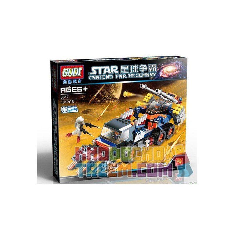 Xinlexin Gudi 8617 (NOT Lego Space War Assault Tank ) Xếp hình Xe Tải Bọc Thép Chở Robot Bộ Binh 401 khối