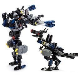 Lego Transformers Gudi 8712 Dinosaul Wolf Xếp hình rô bốt biến hình chó sói 299 khối