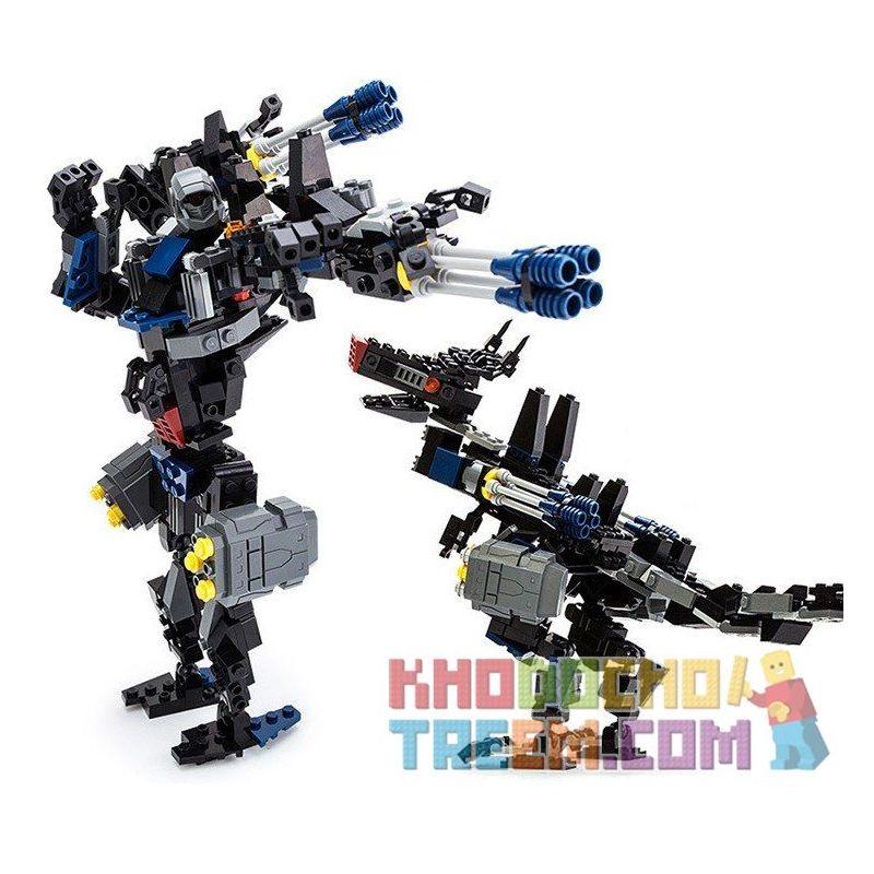 Gudi 8712 Transformers Dinosaul Wolf Xếp Hình Rô Bốt Biến Hình Chó Sói 299 Khối