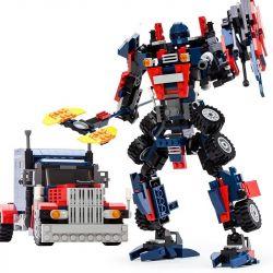 Gudi 8713 Transformers Optimus Prime Xếp hình thủ lĩnh tối cao Autobot robot biến hình xe đầu kéo Peterbilt 377 khối