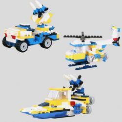 Xinlexin Gudi 8109A Creator 3 In 1 Helicopter Transform Armored Vehicles, Rocket Ship Xếp Hình Trực Thăng Biến Hình Xe Bọc Thép, Tàu Tên Lửa 145 Khối