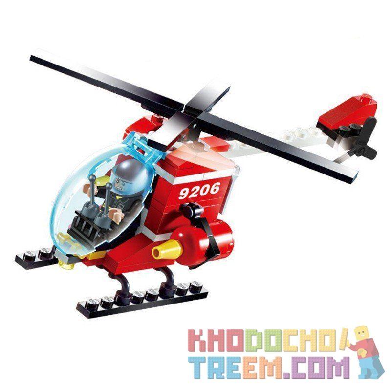 Xinlexin Gudi 9206 (NOT Lego City Fire Helicopter ) Xếp hình Trực Thăng Cứu Hỏa 91 khối