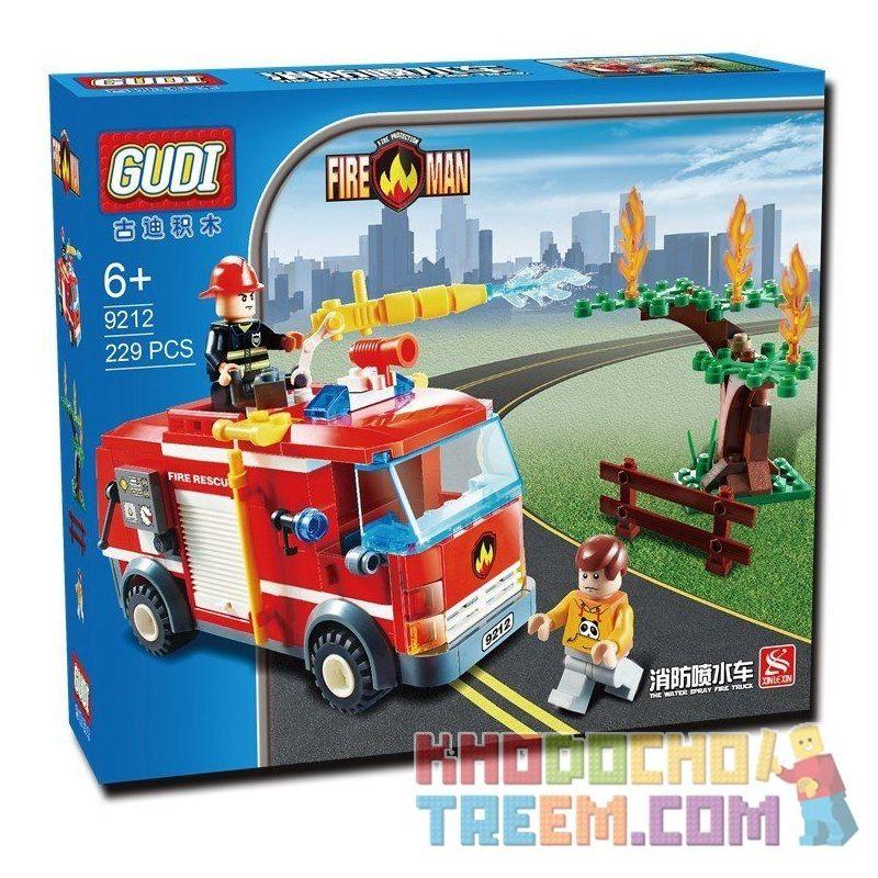 Xinlexin Gudi 9212 (NOT Lego City Fire Truck ) Xếp hình Xe Cứu Hỏa Phun Nước Chữa Cháy Cây 229 khối