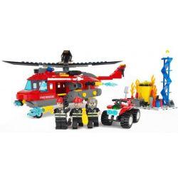 Gudi 9214 City Fire Helicopter Xếp Hình Trực Thăng Cứu Hỏa Giếng Dầu 374 Khối