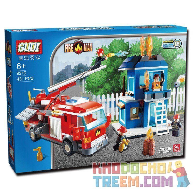 Gudi 9215 City 60003 Fire Emergency Xếp hình xe thang cứu hỏa chữa cháy nhà 431 khối