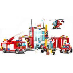 Lego City 60004 Gudi 9217 Fire Station Xếp hình trụ sở cứu hỏa với trực thăng và ô tô cứu hỏa 874 khối