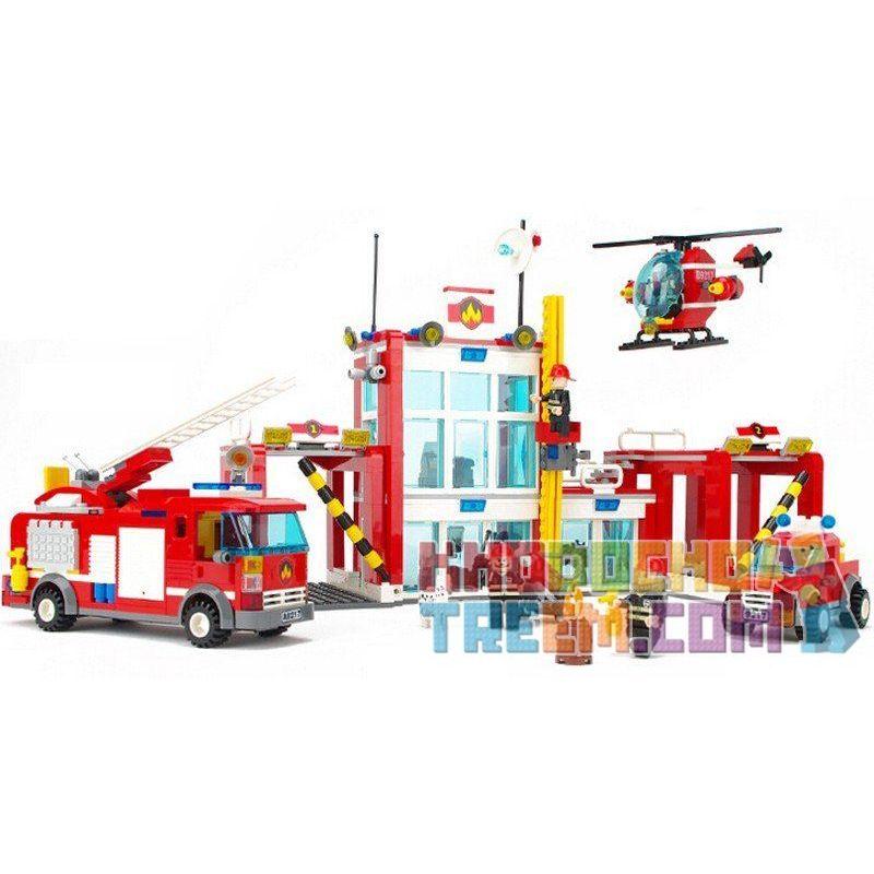 Gudi 9217 City 60004 Fire Station Xếp hình trụ sở cứu hỏa với trực thăng và ô tô cứu hỏa 874 khối