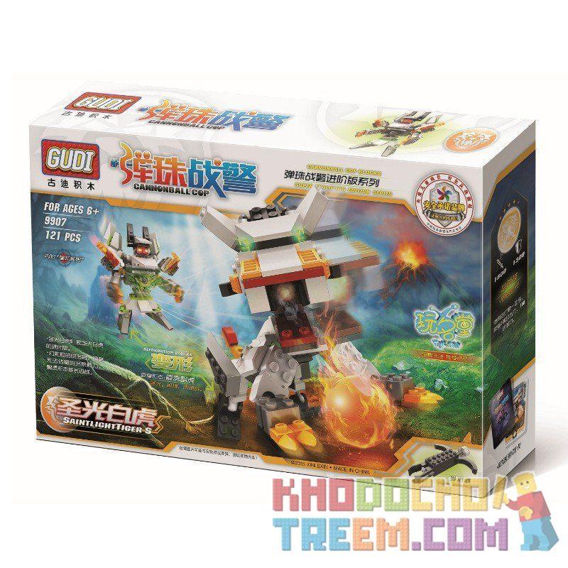 Xinlexin Gudi 9907 (NOT Lego Transformers Saint Lightning Tiger ) Xếp hình Rô Bốt Biến Hình Hổ Sấm Sét Bắn Đại Bác Tròn 121 khối