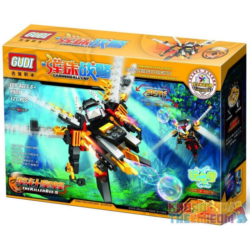 Xinlexin Gudi 9909 (NOT Lego Transformers The Killer Bee ) Xếp hình Rô Bốt Biến Hình Ong Sát Thủ Bắn Đại Bác Tròn 121 khối