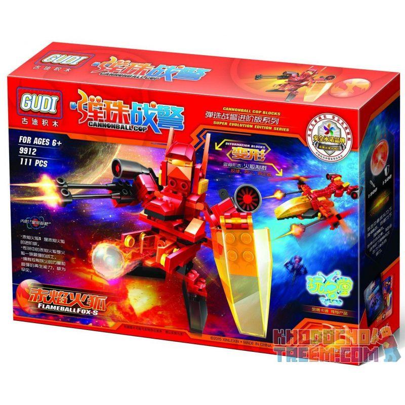 Gudi 9912 Transformers Flame Ball Fox Xếp Hình Rô Bốt Biến Hình Cáo Lửa Bắn đại Bác Tròn 111 Khối