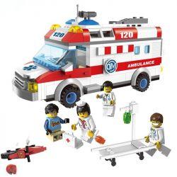 Lego City 4431 Enlighten 1118 Ambulance Xếp hình xe cấp cứu người tai nạn mô tô 328 khối