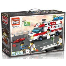 Enlighten 1118 City 4431 Ambulance Xếp Hình Xe Cấp Cứu Người Tai Nạn Mô Tô 328 Khối