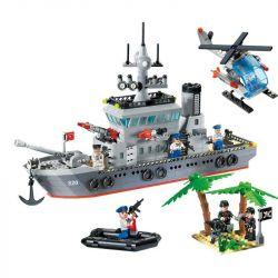 Enlighten 820 Military Army Frigate Xếp hình Trận Đánh Chiếm Hòn Đảo Ở Đại Dương Của Tàu Tên Lửa Và Trực Thăng 614 khối