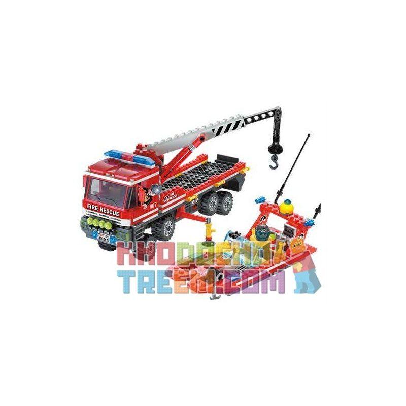 Enlighten 907 City 7213 Off-Road Fire Truck & Fireboat Set Xếp Hình Xe Tải Cứu Hỏa, Xuồng Cao Tốc Cứu Hỏa 420 Khối