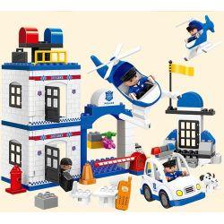 Lego Duplo 4965 Huimei HM060 Police Action Xếp hình trụ sở cảnh sát lớn với trực thăng cùng ô tô cảnh sát 115 khối