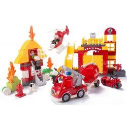 Lego Duplo 5601 Huimei HM061 Fire Station Xếp hình trụ sở cứu hỏa với trực thăng và xe phun nước chữa cháy nhà 2 tầng 112 khối