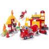 Huimei HM061 (NOT Lego Duplo 5601 Fire Station ) Xếp hình Trụ Sở Cứu Hỏa Với Trực Thăng Và Xe Phun Nước Chữa Cháy Nhà 2 Tầng 112 khối