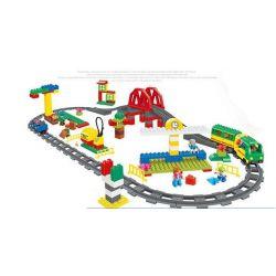Lego Duplo 10508 Huimei HM316 Deluxe Train Set Xếp hình tàu hỏa xanh lá động cơ pin chạy ray có cầu vượt 152 khối