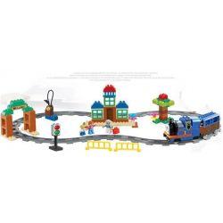 Huimei HM318 Duplo 5554 Thomas Load And Carry Train Set Xếp hình Tàu Hỏa Động Cơ Pin Thomas Và Ray Bầu Dục 103 khối