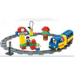 Lego Duplo 5608 Huimei HM328 Train Starter Set Xếp hình tàu hỏa động cơ pin và ray hình tròn 51 khối